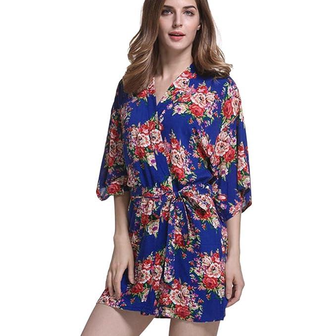 QinMM Albornoz Mujer Kimono Batas Baño, Floral camisón Mujer Lencería Satén Casa Cama Fiesta: Amazon.es: Ropa y accesorios