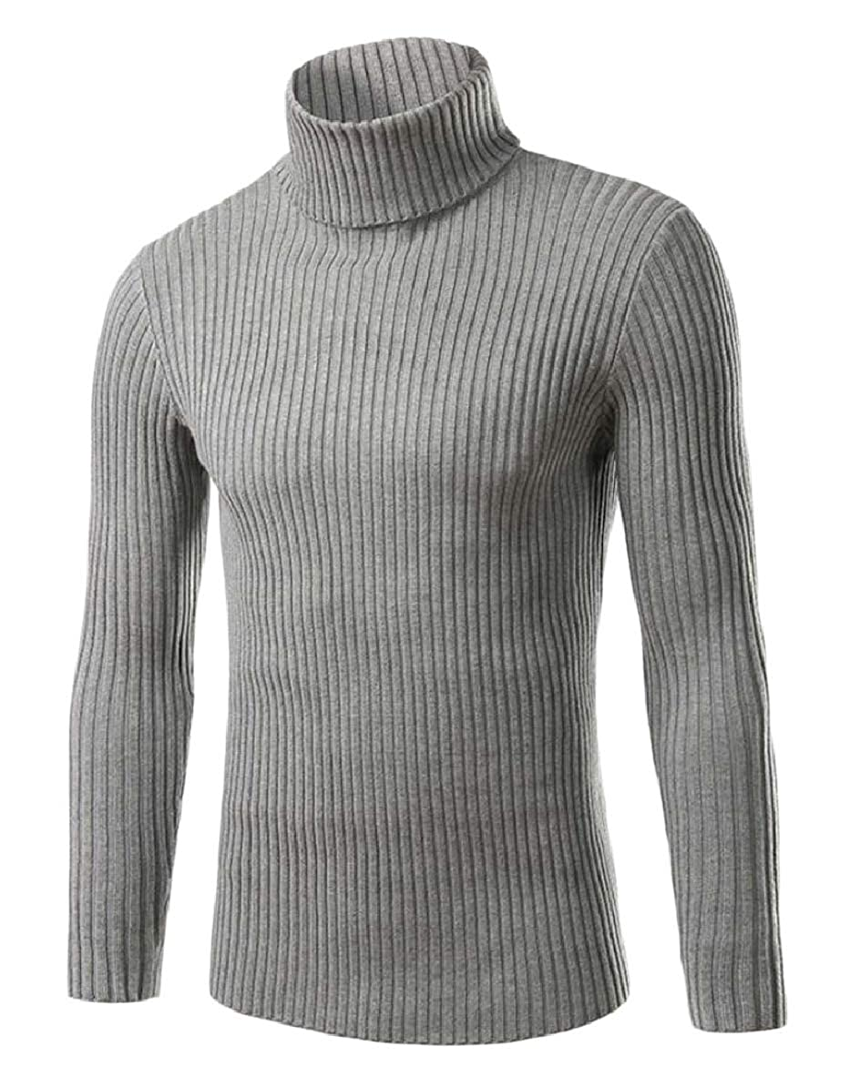 Smeiling Mens Tops High Neck Long Sleeve Knitting Solid Pullover Sweaters