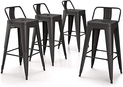 "VIPEK 26 Inches Metal Counter Height Bar Stools Counter Stools Set of 4 Low Back Barstools 26"" Industrial Dining Chairs Patio Chair Bistro Cafe Kitchen Bar Chairs, Matte Black"