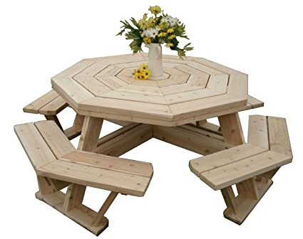 Amazoncom White Cedar Octagon Walk In Picnic Table Garden - Octagon shaped picnic table