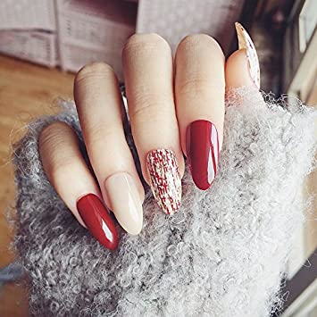 Amazon Com 24pcs Glossy Classical Red Stiletto Nails Art With Nail