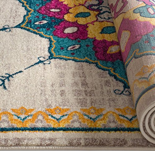 """Alba Modern Distressed Area Rug [5'3"""" x 7'3""""] Bohemian Transitional Eclectic Rug Soft Living Dining Room Multi Color Carpet"""