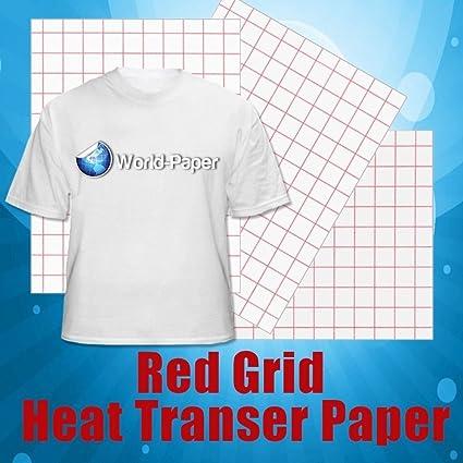 Rojo rejilla de inyección de tinta papel de transferencia de calor unidades – 8,5 x 11 (20 hojas): Amazon.es: Oficina y papelería
