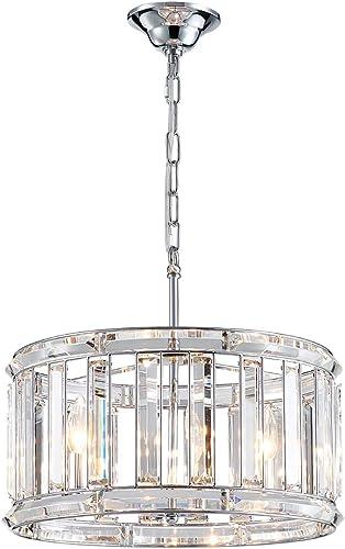 ANJIADENGSHI Modern K9 Crystal Chandelier Lighting Drum Ceiling Chandelier 4 E12 Bulb