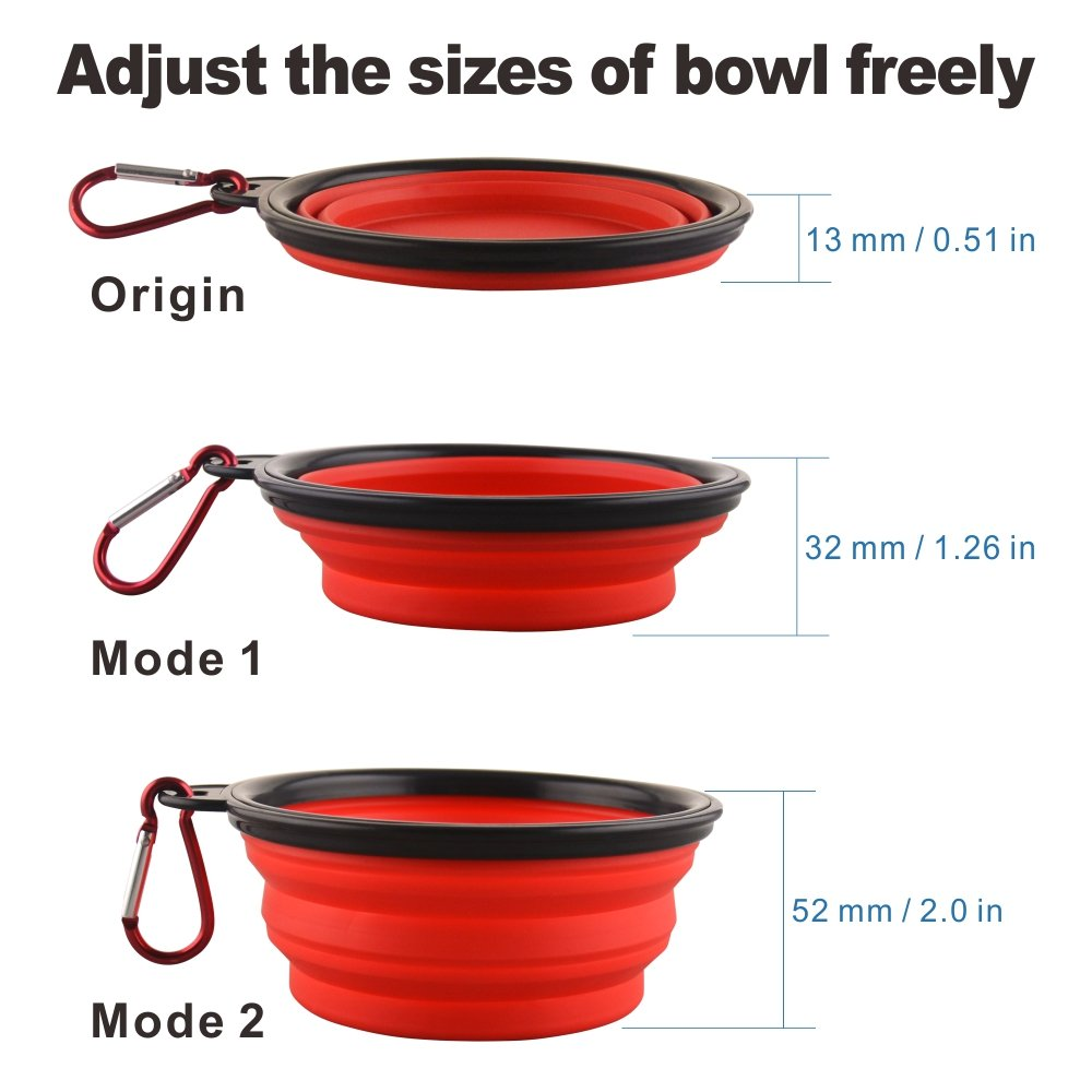 Collapsible Dog Bowl Pack of 4 Silicone Portable Water Bowls with Carabiner Clip for Travel Pet Feeding