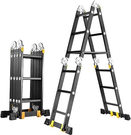 LJSJT Escalera Plegable de Aluminio Escalera de ingenieria portatil Multiusos una escalera Aleación de aluminio grueso Varias formas Polea móvil Cubierta de pie antideslizante Escalera recta 3.7m Peso: Amazon.es: Hogar