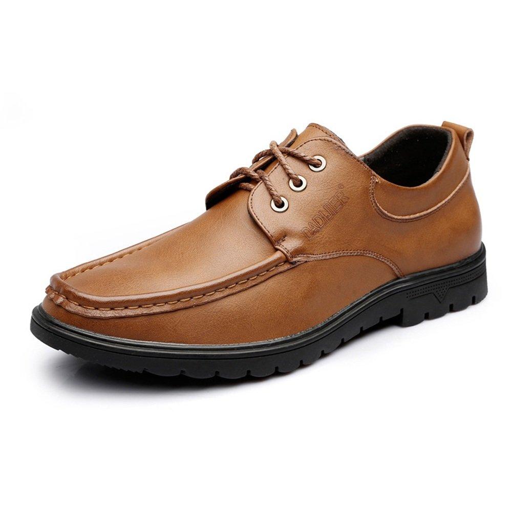 Battle Men Men's Loafers Lace Up Genuine Leather Business Oxfords Fashion (Color : Brown, Size : 7.5 MUS)