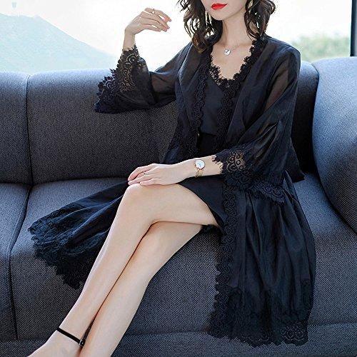 QFFL fangshaifu シフォンファッションレースステッチサンプロテクションウェア/女性夏ロングセクションルース超薄サンスクリーンカーディガン/女性クリエイティブな通気性快適なショール (色 : ブラック, サイズ さいず : L l)
