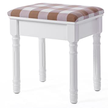 BEWISHOME Vanity Stool Makeup Table Bench With Upholstered Seat For Bedroom  Closet Dressing Room, White