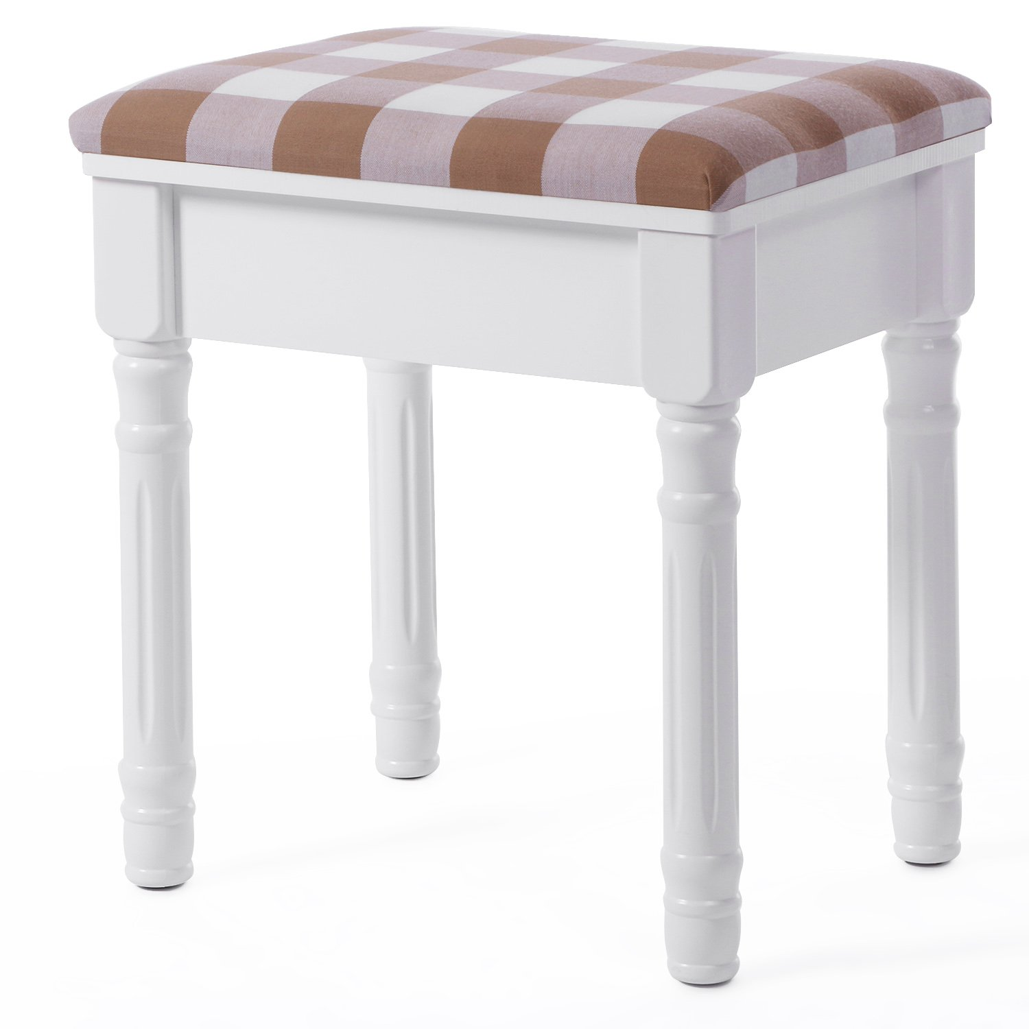 BEWISHOME Vanity Stool Makeup Table Bench with Upholstered Seat for Bedroom Closet Dressing Room, White FSD02W