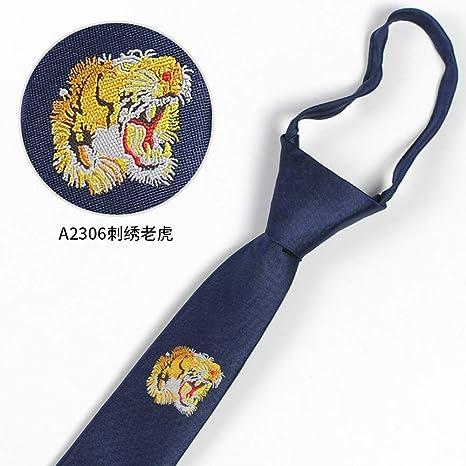 Corbatas para Hombre,Moda Tiger Head Bordado Logotipo Lazy Zipper ...