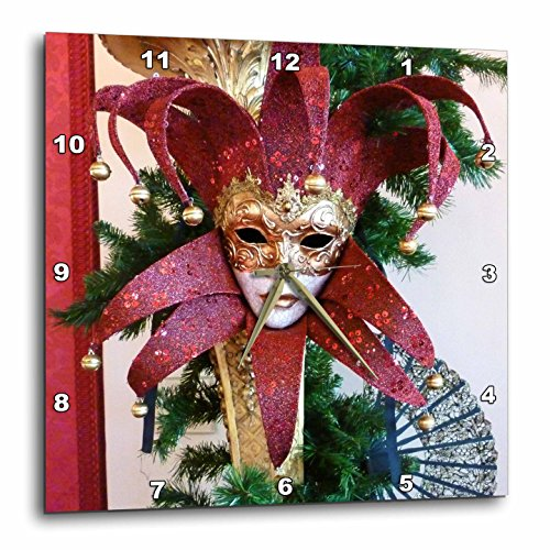3dRose dpp_37256_2 Red and Gold Vintage Mardi Gras Mask-Wall Clock, 13 by (Pics Of Mardi Gras Masks)