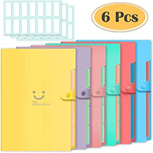 Selizo 6 Pcs Expanding File Folder with 5 Pockets Organizer Plastic A4 Size and 168 Pcs File Folder Labels for School Teacher and Office