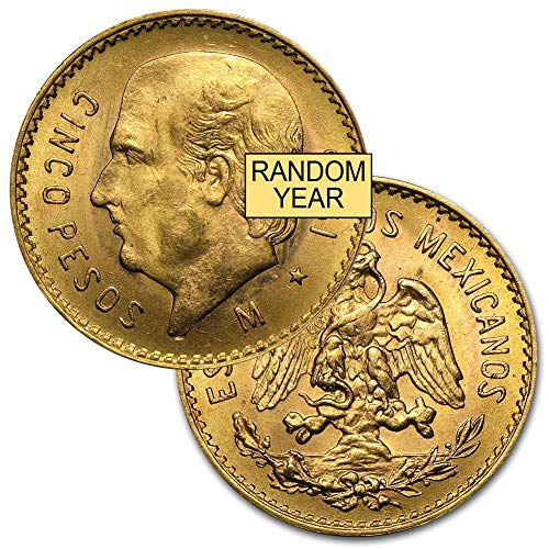 1905 MX 1955 (Random Year) Mexico Gold Cinco 5 Pesos Brilliant Uncirculated .1205 troy oz AGW ()