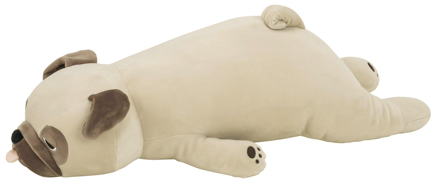 LivHeart Premium Nemu Nemu Sleepy head Animals Body Pillow Beige Plush Dog Pug 'Hana' size M (22''x9''x5'') Japan import 48769-32 Huggable Super Soft Stuffed Toy