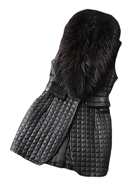 official photos 18758 2f26c Gilet Pelle Donna Autunno Invernali Smanicato Con Collo ...