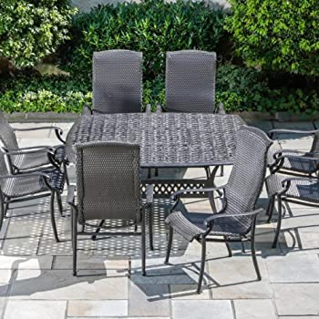 Alfresco Home Hemingway All Weather Wicker Square 8 Seat Dining Set