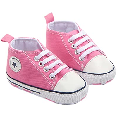 bettyhome Cotton Unisex Baby Boys Girls Newborn Deep Pink Canvas Soft Sole Infant Toddler Prewalker Sneakers (0-1 Year)