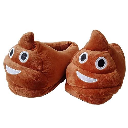 Poop Emoji Slippers Plush Funny Stuff Fluffy Slipper Anti Slip Cute Cartoon  House Shoes Unisex for Women Men Kids