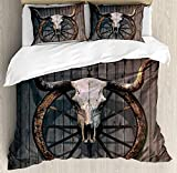 Barn Wood Wagon Wheel Bedding Duvet Cover Sets for Children/Adult/Kids/Teens Twin Size, Long Horned Bull Skull and Old West Wagon Wheel on Rustic Wall, Hotel Luxury Decorative 4pcs, Black Brown White