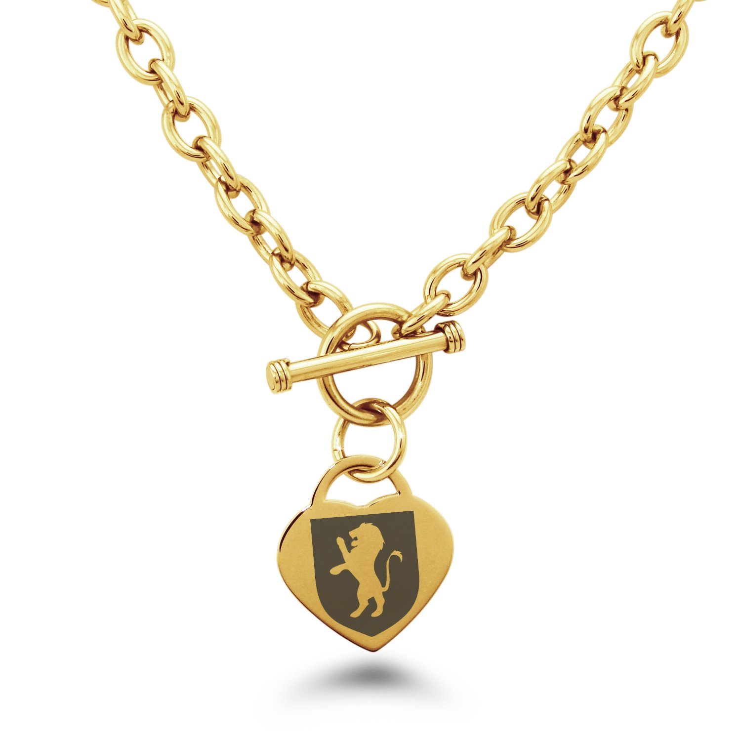 Gold Plated Stainless Steel Lion Courage Coat of Arms Shield Symbols Heart Charm, Necklace Only