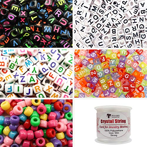 TOAOB 1200pcs Beads Kit Letter Beads Large Hole Acrylic Alphabet Beads in 4 Styles and Multicolor Seed Beads with Elastic String for Name Bracelet Necklace Key Chains Craft Jewelry Making