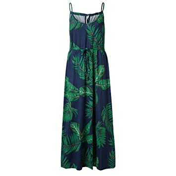 1dfb676e91 Summer Women Boho Print Dress, Sexy Sleeveless V Neck Spaghetti Strap Maxi  Dress Casual Loose