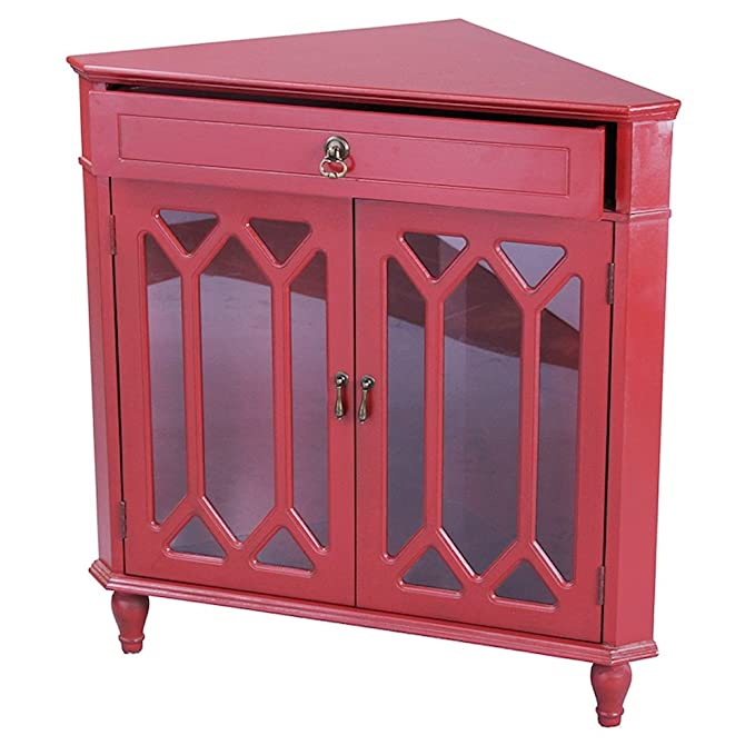 Amazon.com: Heather Ann Creations Modern 2 Door Corner Cabinet With ...
