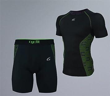 LUCKY-U Camiseta Y Shorts De Compresión, Camiseta Y Shorts De Ciclismo para Hombre
