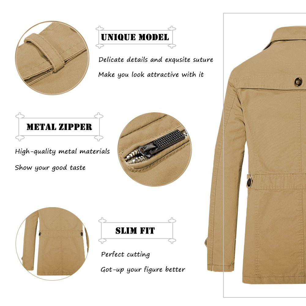MAGE MALE Men Single Breasted Trench Coat Lightweight Slim Fit Notch Lapel Cotton Jacket,Dark Khaki,Small by MAGE MALE (Image #3)