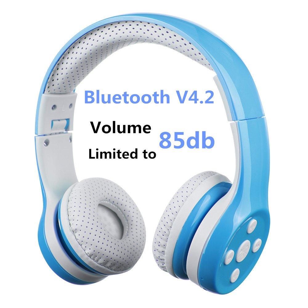 Auriculares Bluetooth para niños, Hisonic Auriculares Plegable para niños con volumen limitado compatible con iPhone ,iPad mini, iPad ,PC ,MP3 y más dispositivos Bluetooth, regalo perfecto para los niños (Azul)