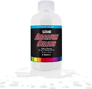 US Art Supply White Opaque Acrylic Airbrush Paint 8 oz.
