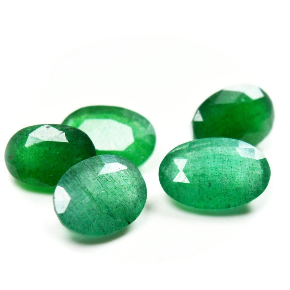 Natural Indian Emerald Loose Gemstone Lot Total 10 Carat Oval Shape 5 Pieces Birthstone at Wholesale Rate Gemsyogi IEMEROVAL-2