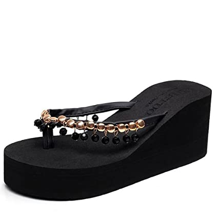 a7be60117d Image Unavailable. Image not available for. Color: SHANGXIAN Summer Women's Sandals  Wedge Platform Flip Flops ...