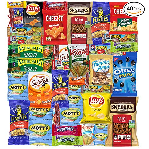 Sweet Choice (40 Count) Ultimate Sampler Mixed Bars, Cookies, Chips, Candy Snacks Box for Office, Meetings, Schools,Friends & Family, Military,College, Halloween , Snack Variety Pack ()