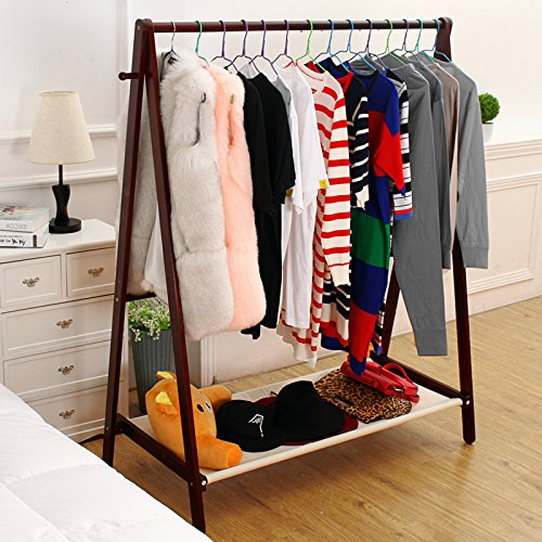 Jerry & Maggie - Garment Rack Cloth Rack Natural Sturdy Wood Coat Rack Clothes Hanging System Laundry Drying With Bottom Shelves | Foldable / Collapsible / Luxury by Jerry & Maggie (Image #4)