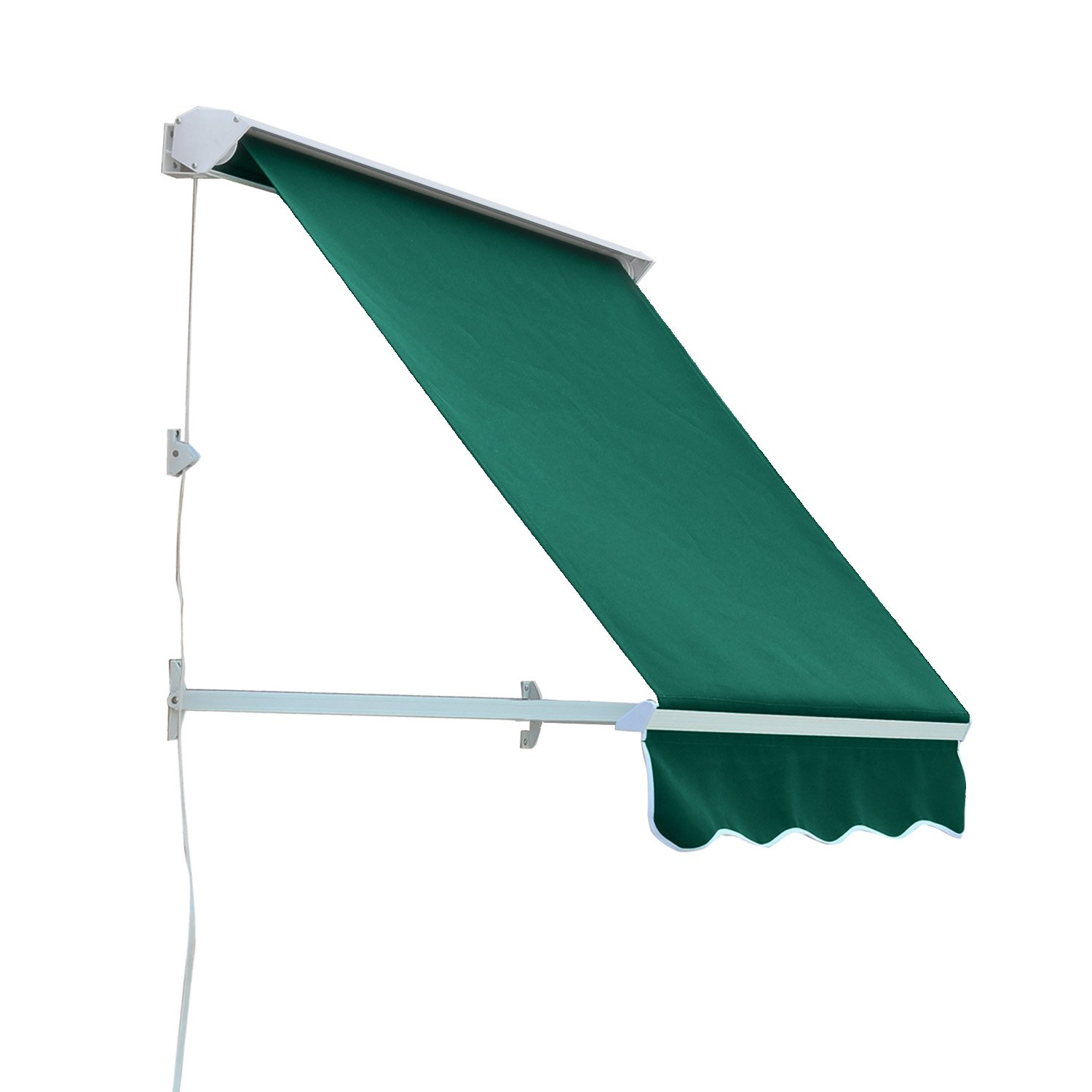 Outsunny Drop Arm Manual Retractable Window Awning, 4-Feet, Deep Green