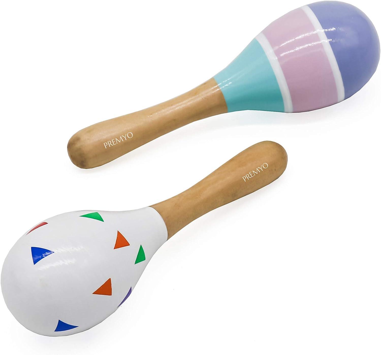 PREMYO Rassel Baby Musik Spielzeug Holzspielzeug Maracas Babyspielzeug Dreiecke Streifen Bunt