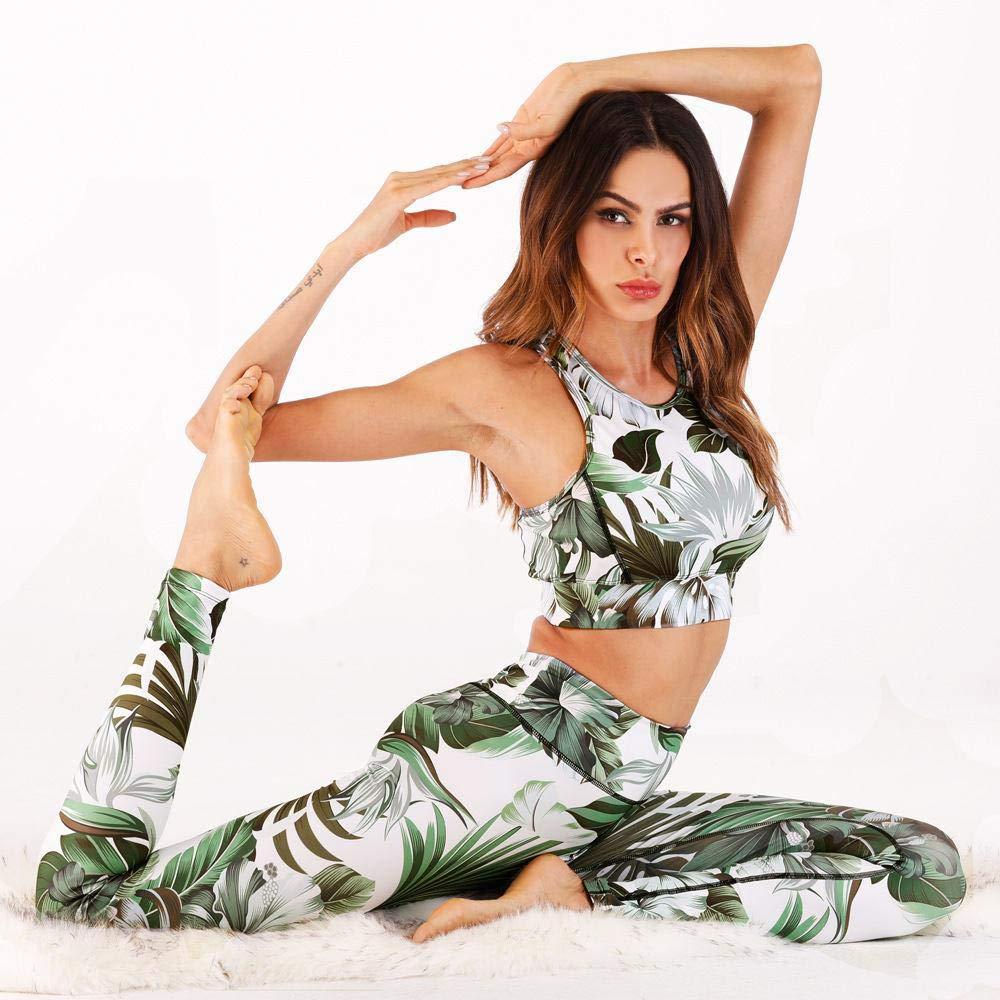 YANGCONG Yoga Fitness Bekleidung Frauen Sport Anzug Ensemble Weibliche Yoga Set Gepolsterte Sportbekleidung Floral Sexy Fitness Workout Gym Wear Laufbekleidung Trainingsanzug Grün L
