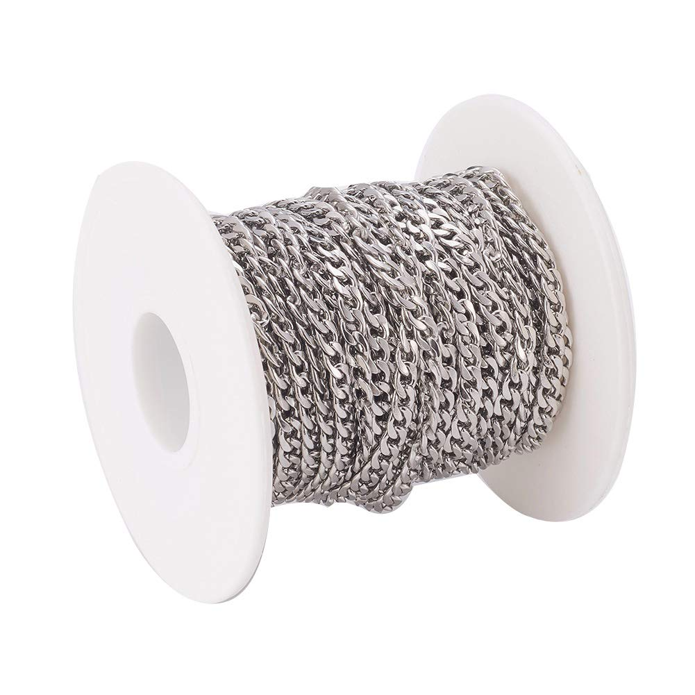 Pandahall 82 Feet//25 Meters Soldered 304 Stainless Steel Curb Chains 4x3x0.6mm Stainless Steel Color Plated for Jewelry Making