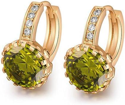 18K Gold Filled Earrings Emerald Zircon Clear Topaz Round Flower Ear Hoop Women
