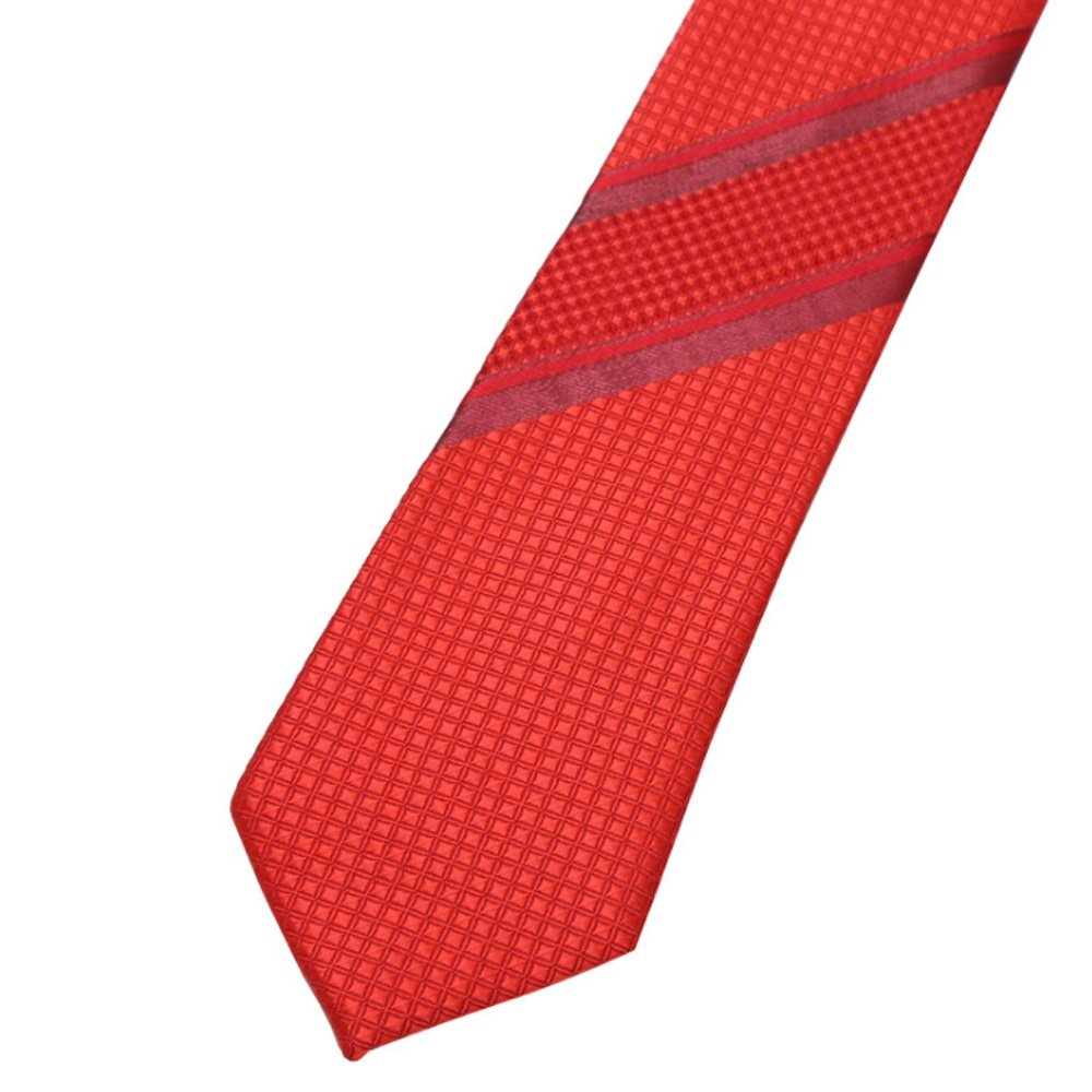 Dig Dog Bone Men Tie Red Necktie Solid Two Stripes Jacquard Weave Men Tie with Gift Box