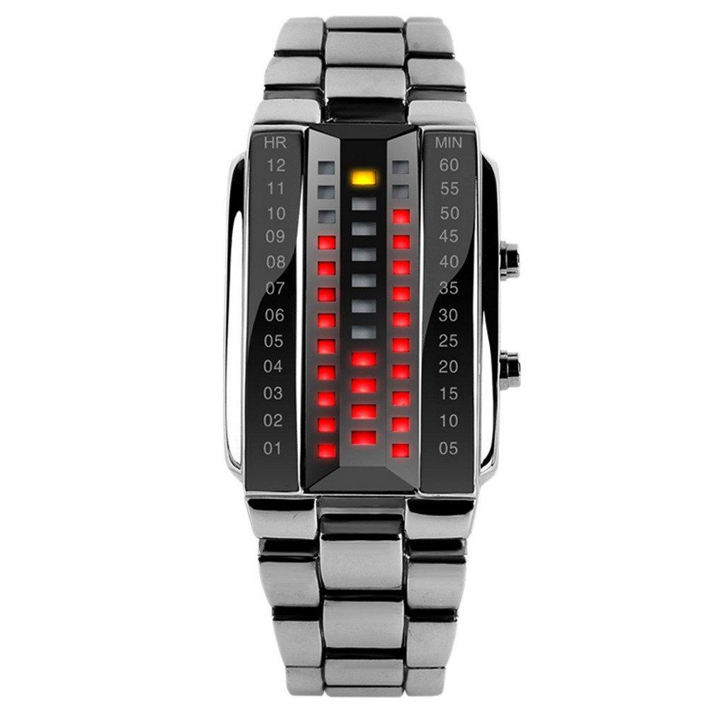 SKMEI - Reloj Digital LED Resistente al Agua Banda de Acero Inoxidable Reloj Electrónico Watch Waterproof para Hombres Mujer - Plateado Negro