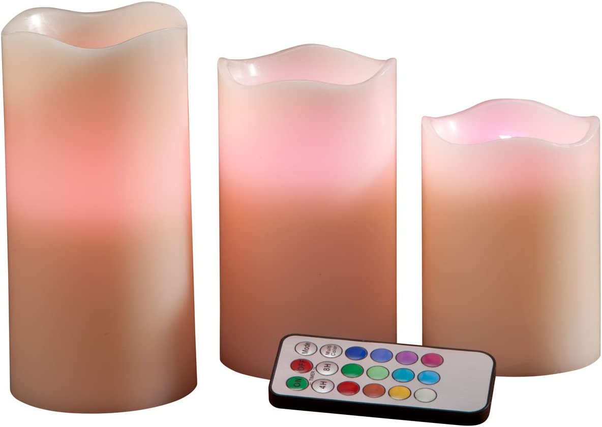 Fox Valley Traders Color Changing LED Candles Set of 3 with Remote