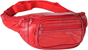Home-X Genuine Leather Lambskin Waist Bag, Fanny Pack (Red)