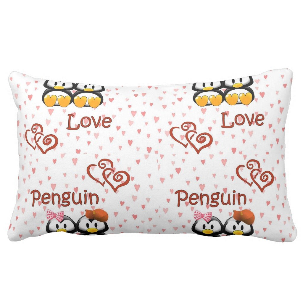 Zazzle Penguin Love Hearts Throw Pillow 13'' x 21'' by Zazzle (Image #1)
