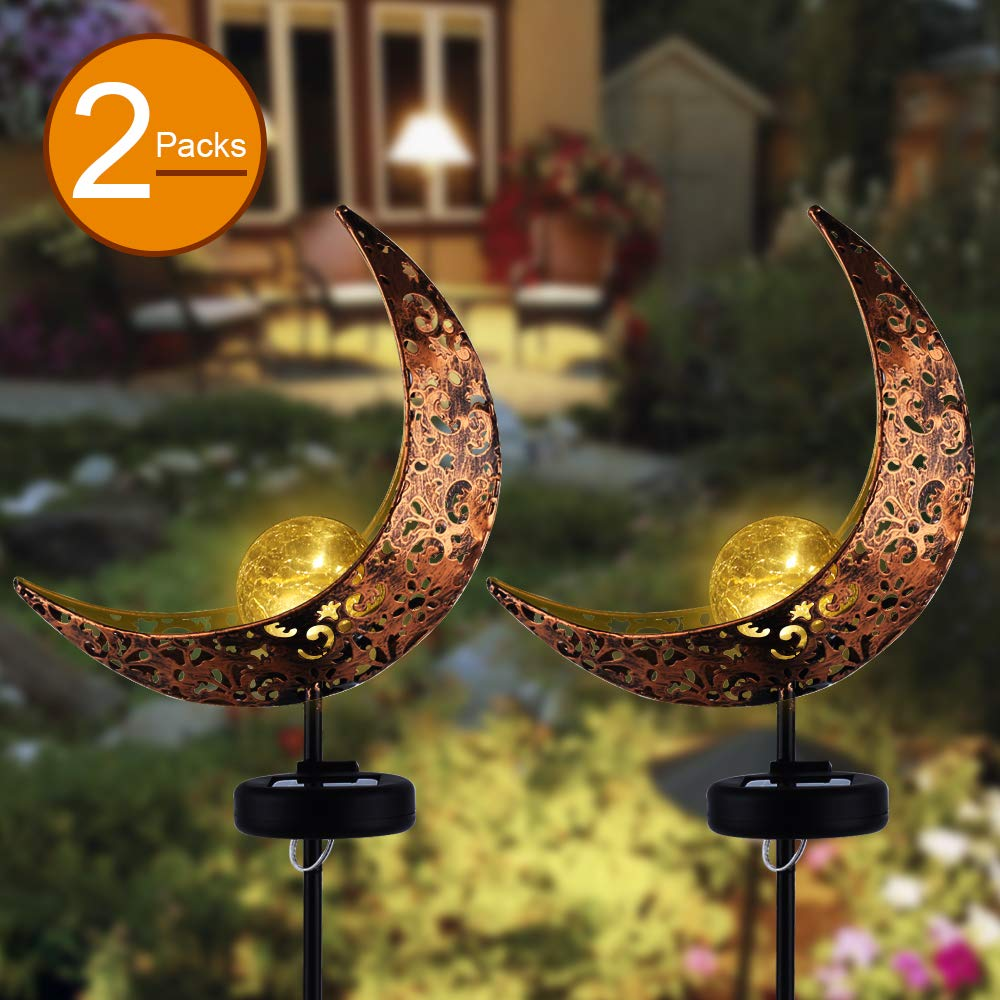 Garden Solar Stake Lights,APONUO Pathway Outdoor Moon Crackle Glass Globe Stake Metal Lights,Waterproof Warm White LED for Lawn,Patio or Backyard (2 Packs)