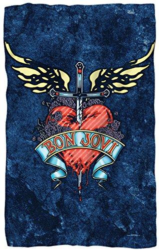 Bon Jovi - Weathered Denim Fleece Blanket 36 x 58in ()