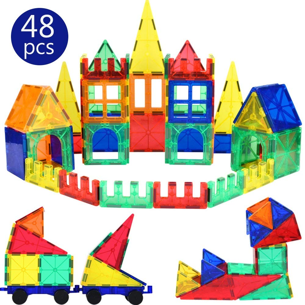 KODH Puzzle DIY Parent-Child Creative Interactive Magnetic Piece Assembled Stacked Toys Suitable for 3 Years Old Boys&Girls Educational Toys Magnetic Building Blocks 48pcs Suit