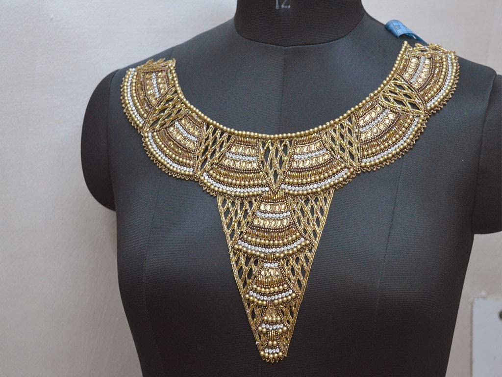 Set of 2 Gold Cosplay Dress Neckline Applique Iron-on Embroidered Neck Collar